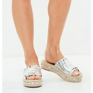 Missguided silver studded strap slides